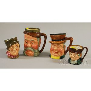 Four Royal Doulton and Lancaster & Sandland Ceramic Character Jugs
