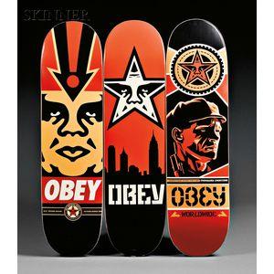 Shepard Fairey (American, b. 1970)      Three Skate Decks