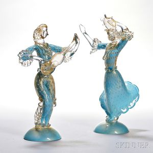 Two Murano Glass Musicians attributed to Barovier + Toso