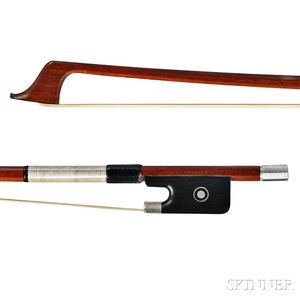 French Silver-mounted Violoncello Bow, Charles Bazin, c. 1950