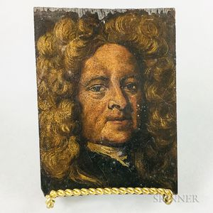 Small Continental Oil on Panel Portrait of a Man