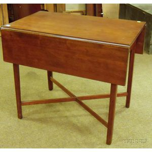 Chippendale Cherry Drop-leaf Pembroke Table with Cross-stretchers.