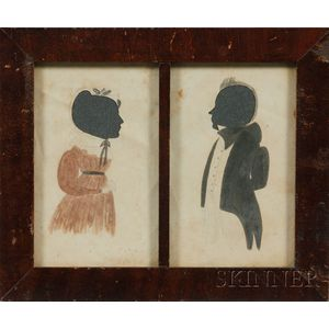 Framed Pair of Double Silhouette Portraits of a Man and a Woman