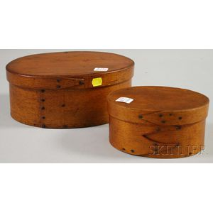 Two Oval Bentwood Covered Boxes