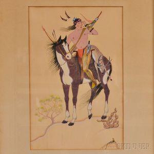 Framed Gouache of an Indian Hunter on Horseback