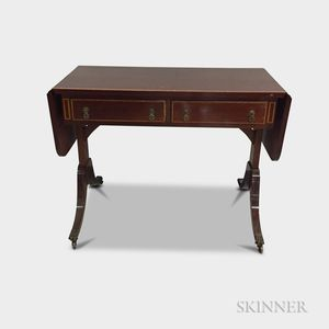 Regency-style Inlaid Mahogany Drop-leaf Sofa Table
