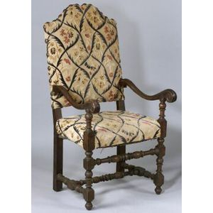 Continental Baroque-style Cut Velvet Upholstered Armchair
