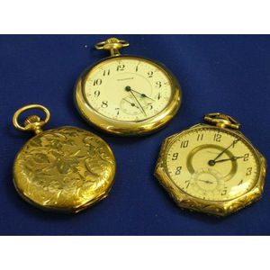 Two Gold Waltham Openface Pocket Watches and an 18kt Gold Baltic Pocket Watch with Engraved Case.