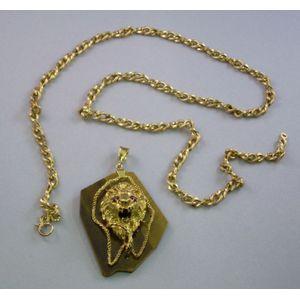 Chased 18kt Gold Lion