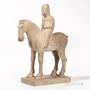 Pottery Figure of a Horse and Rider