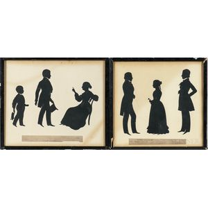 Two Auguste Edouart Silhouettes of Men and Women of the Edmond and Oderdonk Families