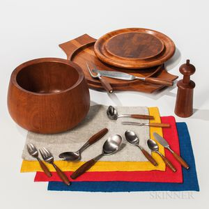 Seventy-six-piece Jens Quistgaard for Dansk Fjord Pattern Dinner Service, Tulip Bowl, Two Serving Trays, Pepper Mill, and a Set of Plac