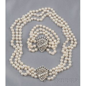 Cultured Pearl and Diamond Convertible Suite