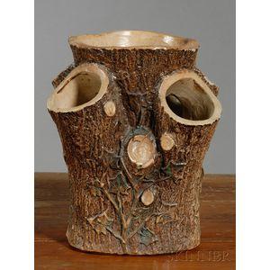 F.B. Norton Stoneware Tree-trunk-form Planter