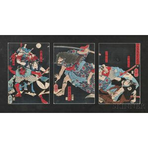 Woodblock Triptych Depicting a Night Scene