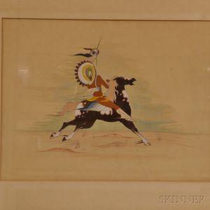 Framed Gouache of a Warrior on Horseback