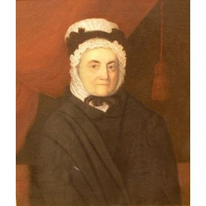 Framed Oil on Canvas Portrait of Woman with White Bonnet