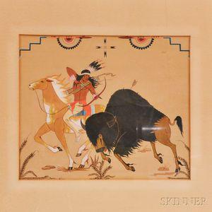 Framed Gouache Painting of a Buffalo Hunt