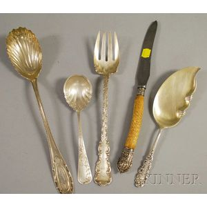 Five Sterling and Silver-plated Serving Items