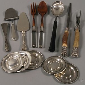 Group of Flatware Serving Items and Butter Pats