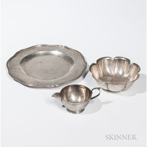Three Pieces of Arts and Crafts Sterling Silver Tableware