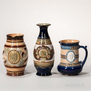 Three Doulton Stoneware Commemorative Items