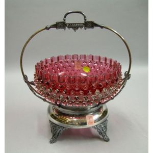 Victorian Silver Plated and Cranberry Hobnail Glass Basket.