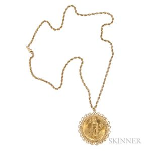1908 St. Gaudens 20 Dollar Gold Coin Pendant