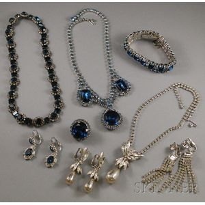 Small Group of Rhinestone and Paste Costume Jewelry