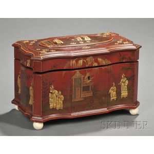 Chinoiserie-decorated Red Lacquer Tea Caddy