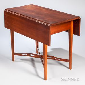 Cherry Drop-leaf Table with Pierced Cross-stretchers