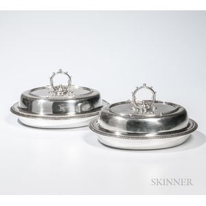 Two American Coin Silver Entree Dishes