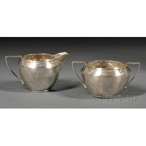 "Wallace Sterling ""Carmel"" Pattern Arts & Crafts Creamer and Sugar Bowl"