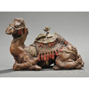 Cold Painted Spelter Camel-form Inkwell
