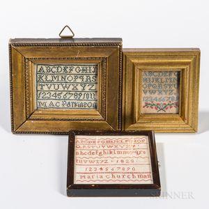 Three Miniature Needlework Samplers