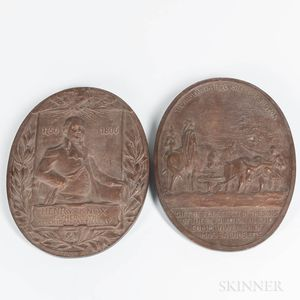 Two Oval Bronze Henry Knox Plaques