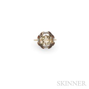 Art Nouveau Topaz, Enamel, and Diamond Ring, Eugene Feuillatre