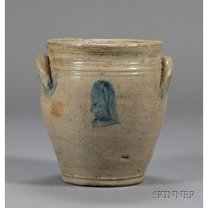 Cobalt Decorated Stoneware Jar With Incised Heads