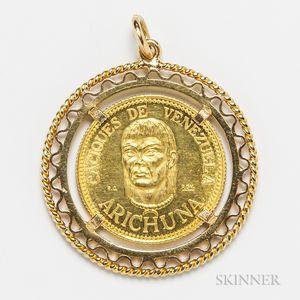18kt Gold-mounted Venezuelan Coin Pendant