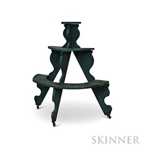 Green-painted Three-tier Demilune Plant Stand