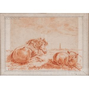 Dutch School, 19th Century    Horse and Lamb at Rest