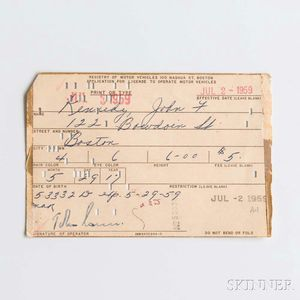 Kennedy, John F. (1917-1963) Application for Driver