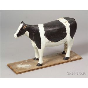 Carved and Painted Wooden Holstein Cow Figure