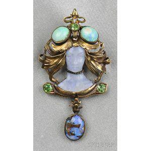 Art Nouveau 18kt Gold, Carved Opal, and Demantoid Garnet Figural Brooch