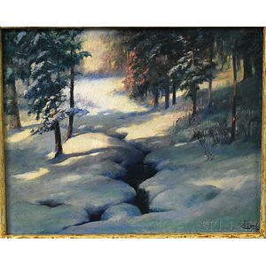 American School, 19th/20th Century      Snowy Brook in Dappled Sunlight.
