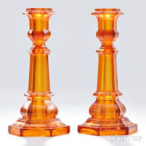 Pair of Light Amber Pressed Glass Columnar Candlesticks