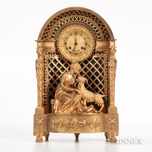Gilt-bronze Figural Mantel Clock