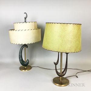 Two Mid-century Modern Cast and Painted Metal Table Lamps