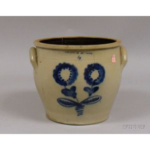 Stoneware Crock Decorated with Cobalt Flowers