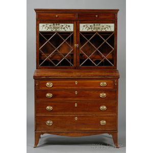 Federal Glazed and Eglomise Cherry Desk/Bookcase